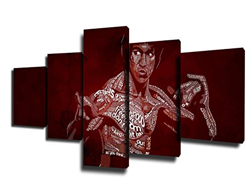 (5 Piece Canvas Wall Art Martial Artist Bruce Lee Pictures Wine Red Paintings Art for Living Room Premium Quality Artwork Giclee Home Decor Wooden Framed Gallery-Wrapped Ready to Hang(50''Wx24''H))
