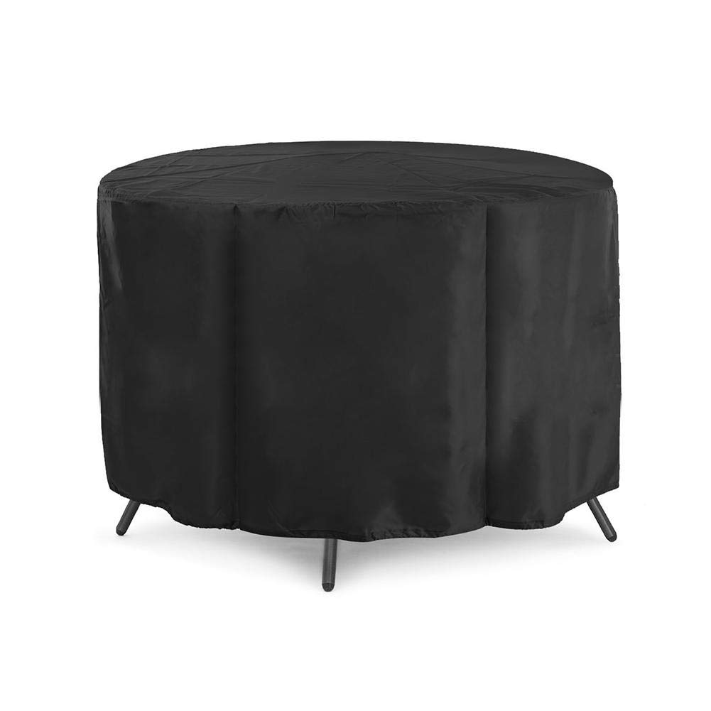 48 Inch Round Table Patio Furniture Cover, Waterproof Dustproof Desk Chair Cover, 210D Oxford Cloth, Black aneil