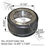151.68607, Brake Drum 3807A - 16.5'' x 8.625'', 10 Bolts