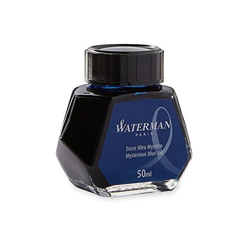 Blue Black Ink - Waterman 1.7 oz Ink Bottle for Fountain Pens, Mysterious Blue (S0110790)
