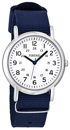 FERENZI Unisex | Casual Silver-Tone and Navy Blue Canvas Strap Big Number Watch | ()