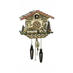 Trenkle Quartz Cuckoo Clock Black forest house with music, moving hunter and rotating mill wheel TU 4239 QM
