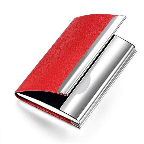 NOMĒ Womens Slim Business Card Holder - Credit Card Pocket Wallet - Red Leather Case