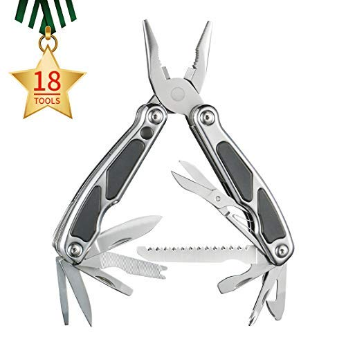 Multi-Tools Multitool Pliers mini LED 18-in-1 Multi-Purpose Pocket Plier Kit Multipurpose Stainless Steel Folding Loaded Multifunction Tool Best for EDC Camping Survival Heavy Duty Outdoor -KARRISM [並行輸入品] B07R4VZJ5C