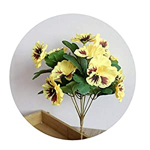 Sevem-D New Artificial Simulation Silk Flower Pansy Artificial Plant Wedding Party Home Hotel Table Decoration,Yellow 45