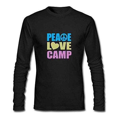 Gauze Camp Shirt - Jidfnjg Peace Love Camp Perfect Round Neck Long Sleeve Fall Wear T-Shirt.