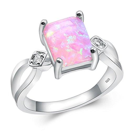 Sinlifu Fashion Jewelry Austrian Square Opal Ring Plating Rhodium Gift for Lover (7, K9)