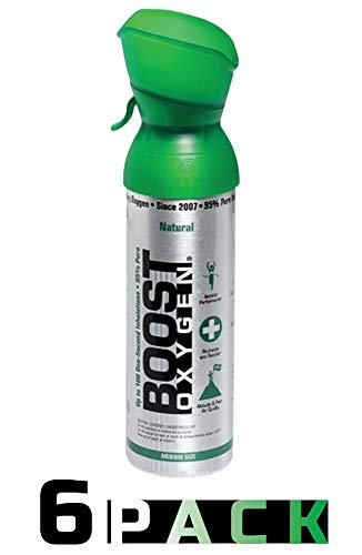 95% Pure Pocket Sized Oxygen Supplement, Portable Canister of Clean Oxygen, Increases Endurance, Recovery, Mental Acuity and Performance (5 Liter Canisters, Natural, 6-Pack)