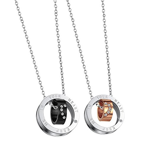 Paris Selection His and Hers Titanium Plated Steel Matching Necklace 2 Pc Set for Couple in Gift (Titanium Plated Necklace)
