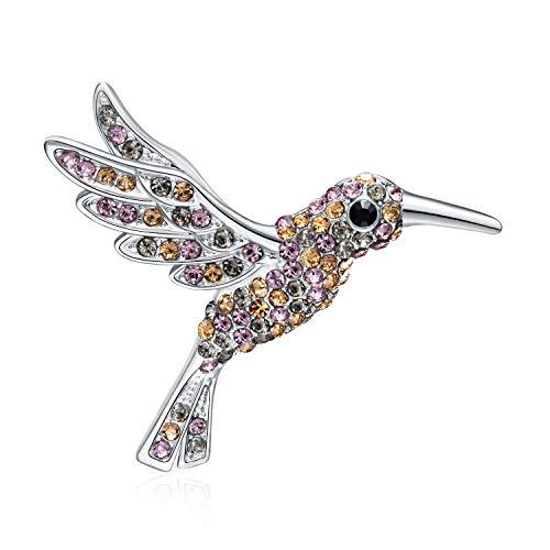 RAINBOW BOX Brooches for Women Fashion, Humming Bird Crystal with Swarovski Rhinestone Jewelry Women's Brooches & Pins