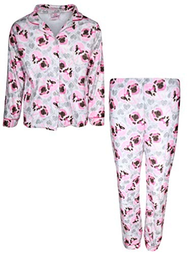 Coat Set Pj (Sweet & Sassy Girls 2-Piece Flannel Coat Style Pajama Set, Grey Dog, 14/16')