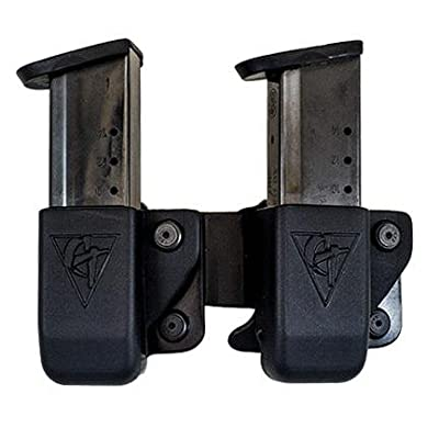 Twin Magazine Pouch Belt Clip - Size # 4 Left Side Carry (Right Hand Shooter)