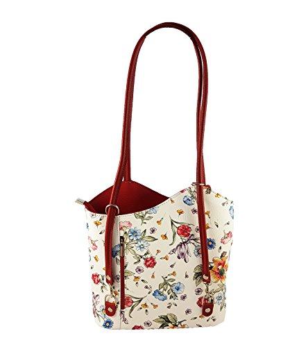 au dos à main femme FreyFashion Rouge Fleurs porté pour in Sac Italy Made n8qw8xTa06