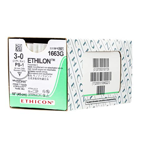 - Ethicon ETHILON Nylon Suture, 1663G, Synthetic Non-absorbable, PS-1 (24 mm), 3/8 Circle Needle, Size 3-0, 18
