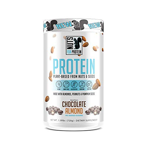 Nuts For Protein Gluten, Soy, Dairy Free Keto Friendly, Non-GMO Plant Based Vegan Protein Powder – Almonds, Peanuts, Pumpkin Seeds, Stevia, Coconut 1.59 Pound Chocolate Almond