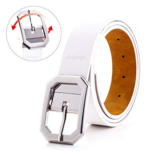 Spring Leather Belt for Women Dress Reversible Fashion Jeans Shiny Rhodium Rotated Buckle Cowgirl Corset Belt Solid Band