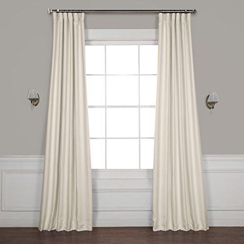 HPD HALF PRICE DRAPES BOCH-LN1856-108 Faux Linen Blackout Room Darkening Curtains, 50 X 108, Birch (Curtain Ivory Pole)