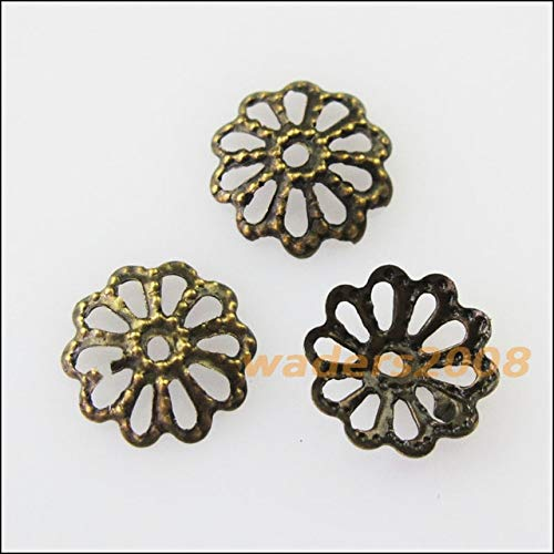 - Calvas 300Pcs Flower End Bead Caps Connectors 8mm Gold Silver Bronze Plated - (Color: Bronze PLT)