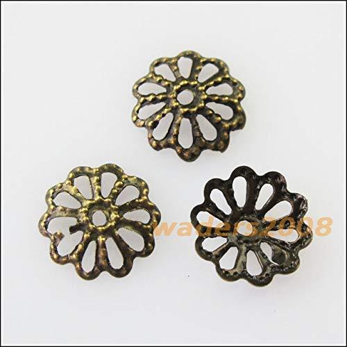 Calvas 300Pcs Flower End Bead Caps Connectors 8mm Gold Silver Bronze Plated - (Color: Bronze PLT)