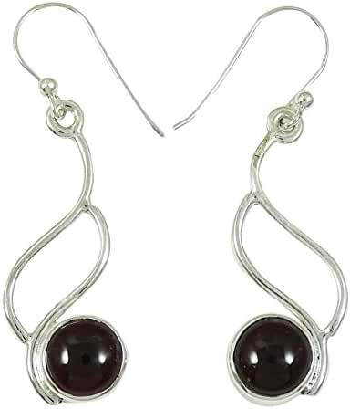 Banithani Fashion Earring 925 Sterling Silver Garnet Stone Indian Jewellery Gift For Her