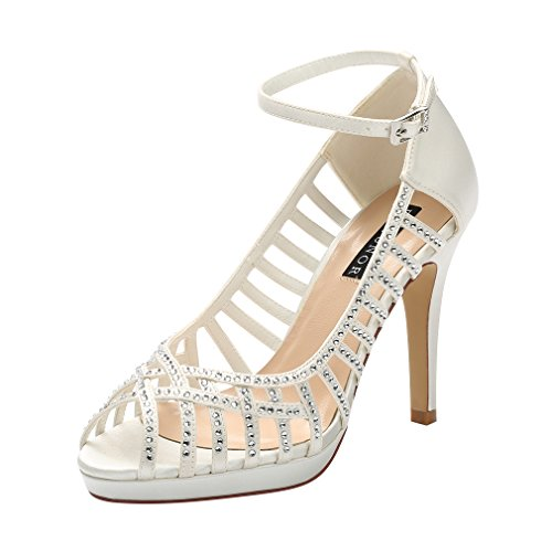 1/2 Inch Sexy Strappy Shoes (ERIJUNOR E1829A Women High Heel Platform Strappy Rhinestones Satin Evening Party Wedding Shoes Ivory Size 8)