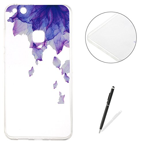 (Huawei P10 Lite Silicone Case Clear [Free 2 in 1 Stylus Pen],KaseHom Unique Stylish Design Transparent Slim-Fit [Shockproof] TPU Rubber Bumper Cover [Anti Scratch] Skin Shell - Flower Purple)
