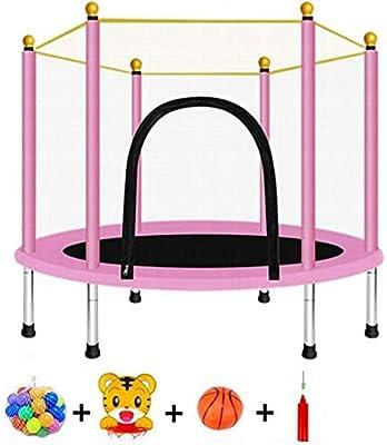 Cama Elástica Con Cerramiento De Seguridad Cama De Salto De Jardín Interior Al Aire Libre Colchoneta De Salto Y Acolchado De Cubierta De Resorte Mini Trampolines Para Niños, Carga 330 Lb,D Pink-120CM: