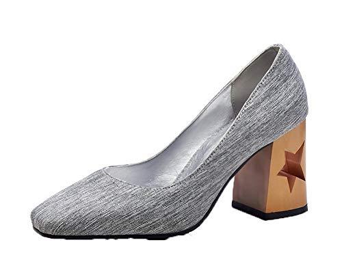 Tacón Sólido Gris Zapatos De Tsmdh004299 Mujeres Tacón Alto Lona Aalardom Sin Cordones q6YtpPqBO
