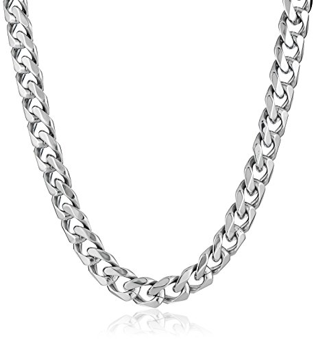 Beveled Curb Chain (Men's Stainless Steel 11mm Beveled Curb Chain Necklace, 22