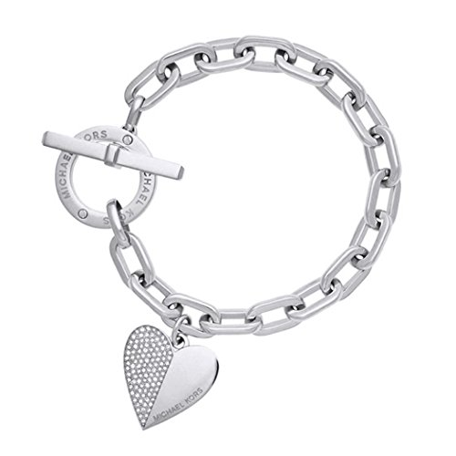 s Jewelry Stainless Steel Heart Style Charm Chain Bracelet Silver/Gold Color silver ()