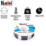 Kaisi Solder Wire 63/37 Tin/Lead Sn63Pb37, Flux 2%, with fluxed rosin core, 1.76oz/50g (0.3mm) 1 PACK