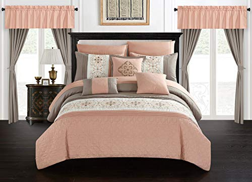 Chic Home Emily 20 Piece Comforter Set Color Block Floral Embroidered Bag Bedding-Sheets Window Treatments Decorative Pillows Shams Included, Queen, Coral