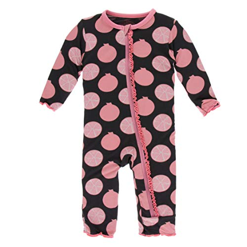 (KicKee Pants Print Muffin Ruffle Coverall with Zipper in Zebra Pomegranate, 3-6 Months)