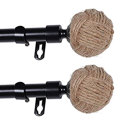 Turquoize Decorative Curtain Rod Rope Knot for Windows Single Window Treatment Rod Set with Classic Finial 3/4 Inch Diameter?2 Pack