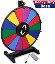 T-SIGN 18 Inch Heavy Duty Table Prize Wheel Spin, 14 Slots Color Spinning Prize Wheel Spinner with Dry Erase M