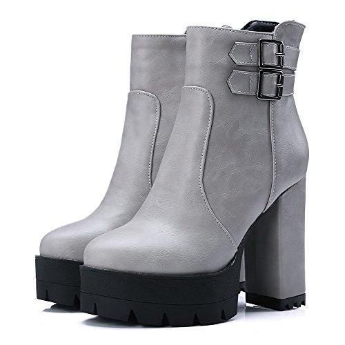 VogueZone009 Damen Schließen Zehe Blend-Materialien Niedrig-Spitze Hoher Absatz Stiefel Grau-Reißverschluss