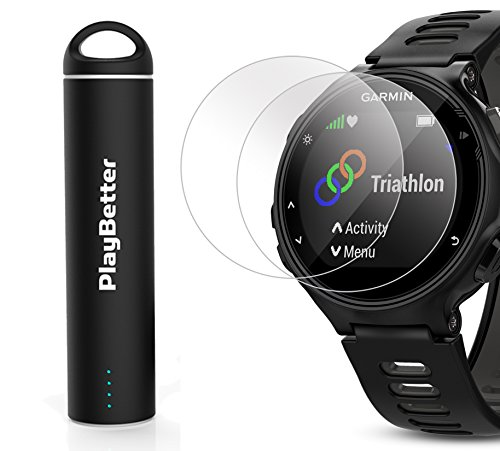 Garmin Forerunner 735XT (Black/Gray) Power Bundle | Includes HD Glass Screen Protectors (x2) & PlayBetter Portable Charger | Multisport GPS Training Watch by PlayBetter (Image #6)