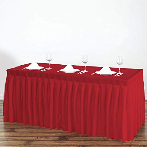 184e25cf44 Surmente Tablecloth 14 ft Polyester Table Skirt for Weddings, Banquets, or  Restaurants (Red