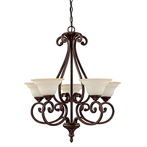 Capital Lighting 3075BB-292 Chandelier with Mist Scavo Glass Shades, Burnished Bronze Finish