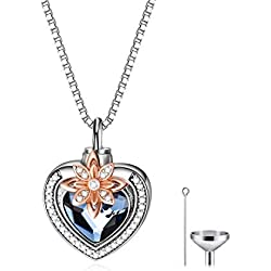AOBOCO 925 Sterling Silver Heart with Flower Urn Necklace for Ashes Engraved Forever in My Heart Cremation Keepsake Necklace with Swarovski Crystal Memorial Jewelry Gift for Women