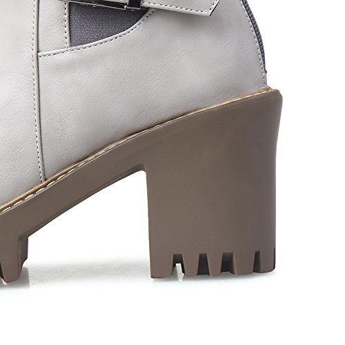 Heels Round Solid High PU Low Closed Top Toe Gray Boots Allhqfashion Women's 5c0q11