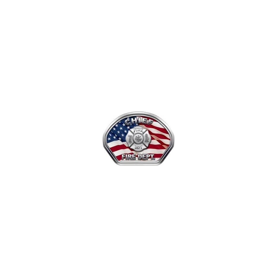 Firefighter Fire Helmet Front Face Chief American Flag Decal Reflective