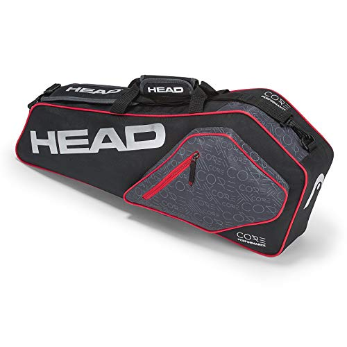 (HEAD Core Pro 3 Racquet Bag Black/Silver/Red)