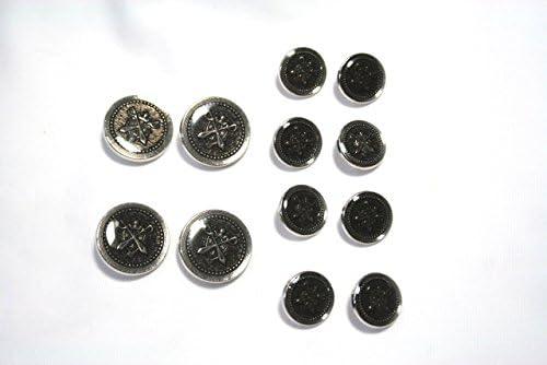 メタルボタンMM-3シルバー20mm4個15mm8個セットスーツジャケットセット(s-4/8)