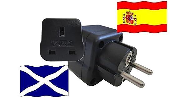 Adaptador de Viaje para España y Escocia ES/GB Enchufe de Viaje (Contacto de Protección, 2200 Vatios): Amazon.es: Bricolaje y herramientas