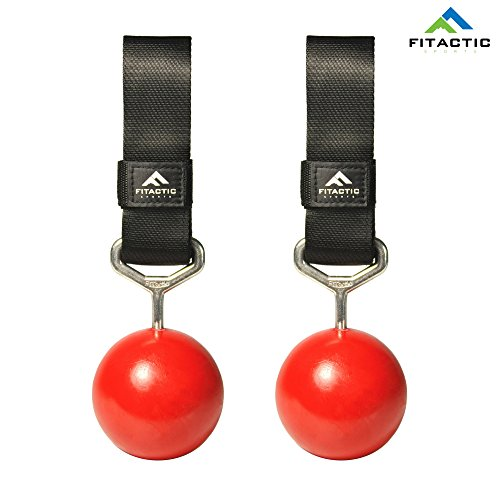 FITactic Rock Climbing Solid Training Cannonball Bomb Pull Up Power Ball Hold Grips with Straps for finger, forearm, biceps, back (Fun Grip Arm)