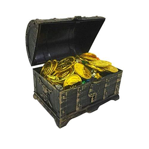 Polymer 205pcs Kids Pirate Box Treasure Box Chests Keepsake Storage Box Organizer with Gold Coins Gemstone Earring Rings
