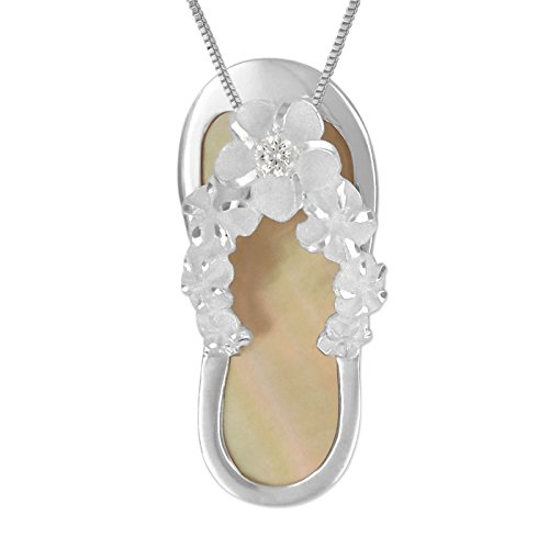Hawaiian Silver Jewelry Sterling Silver Mother Of Pearl Synthetic CZ Slipper Flip Flop Necklace, 18-Inch