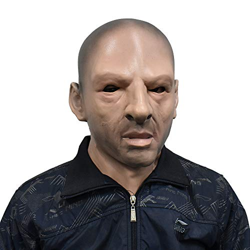 Realistic Bald Man Mask Grim Male Human Face Fancy Dress for Halloween Costume Party Adult Masquerade -
