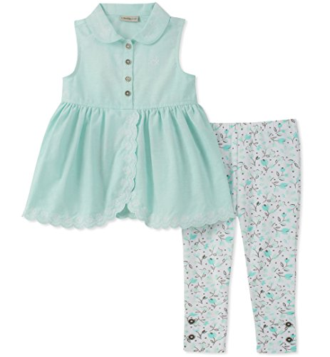 Canal Set - Calvin Klein Baby Girls Tunic Leggings Set, Canal Blue/Print, 18M